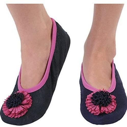 Snoozies Size Womens Large - Flower Toe Indigo Blue