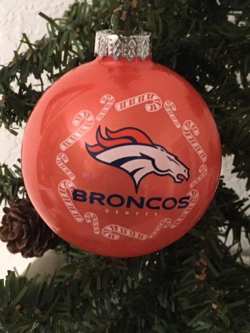 Broncos Candy Cane Ball Ornament