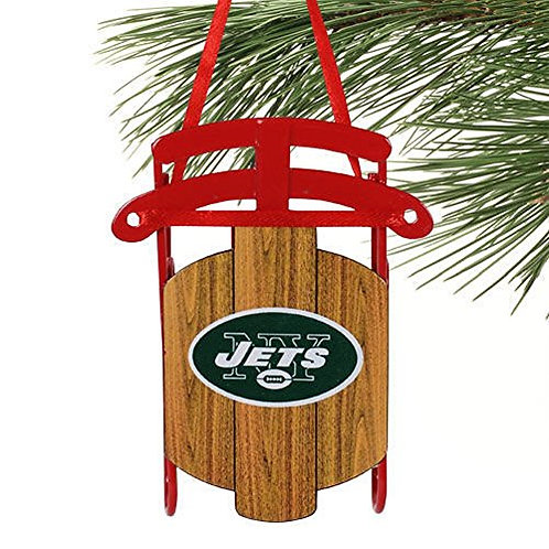 Jets Metal Sled Ornament
