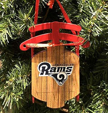 Rams Metal Sled Ornament