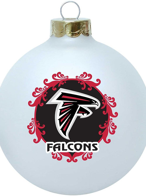Falcons Larger White Glass Ball Ornament