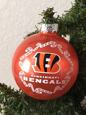 Bengals Candy Cane Ball Ornament