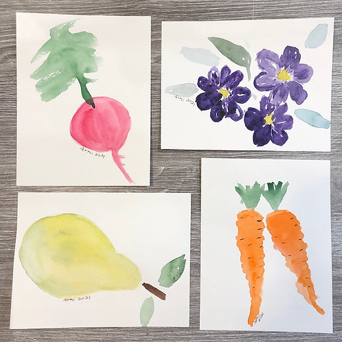 4 Watercolor Art with Envelopes