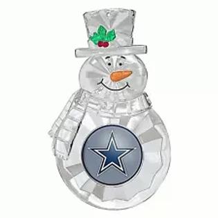 Cowboys Acylic Snowman - Cut Crystal Design Ornament
