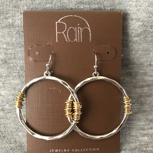 Two Tone Wire Wrap Circle Earrings