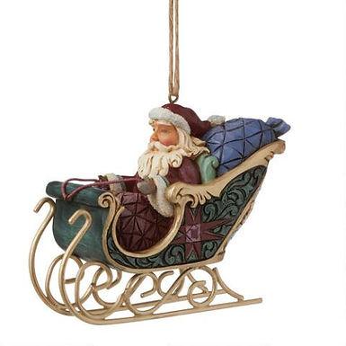 Santa In Sleigh Ornament