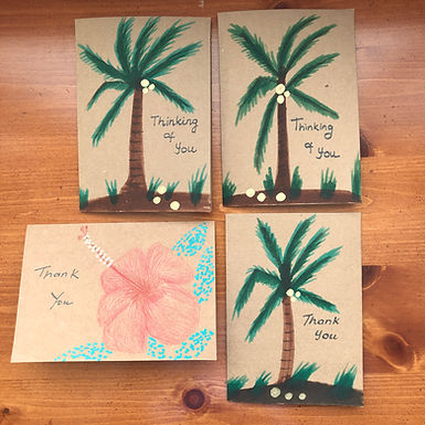 Set of 4 Hand Painted Thank You Cards with Envelopes