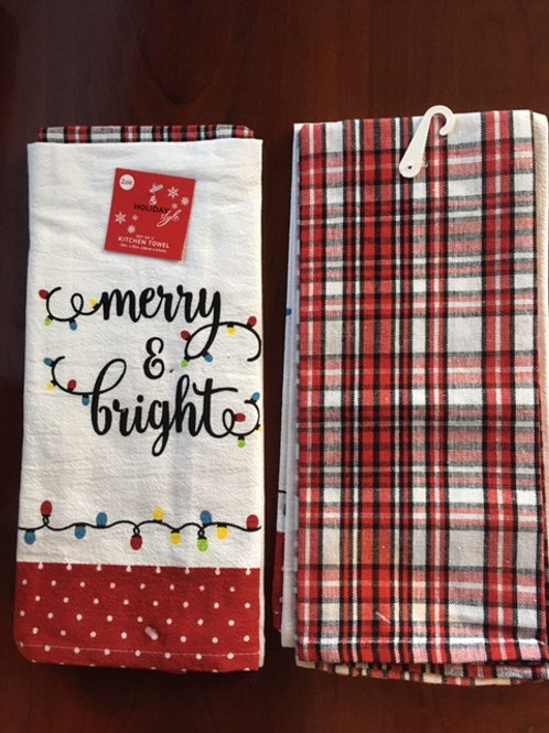 Set of 2 Bistro Towel.....Merry & Bright  and a Red, White, & Black Ck