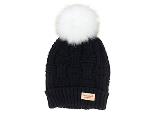 Black Lined Knit Hat with Pom