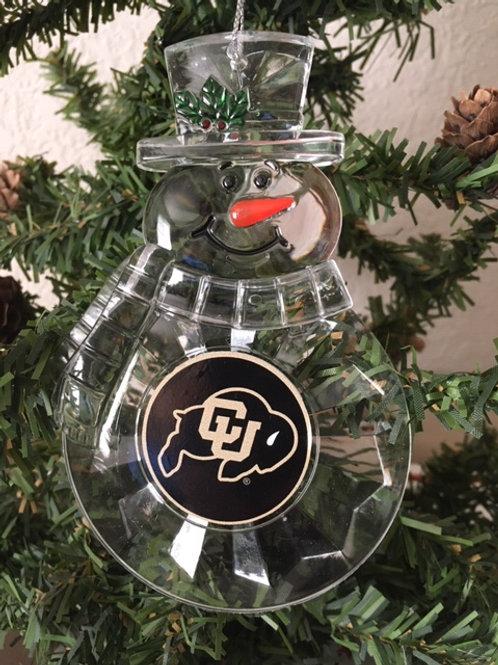 Colorado University Acylic Snowman - Cut Crystal Design Ornament