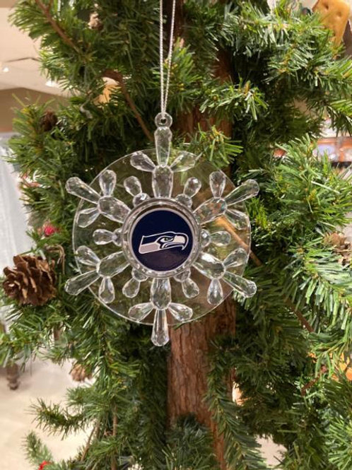Seahawks Acylic Snowflake - Cut Crystal Design Ornament