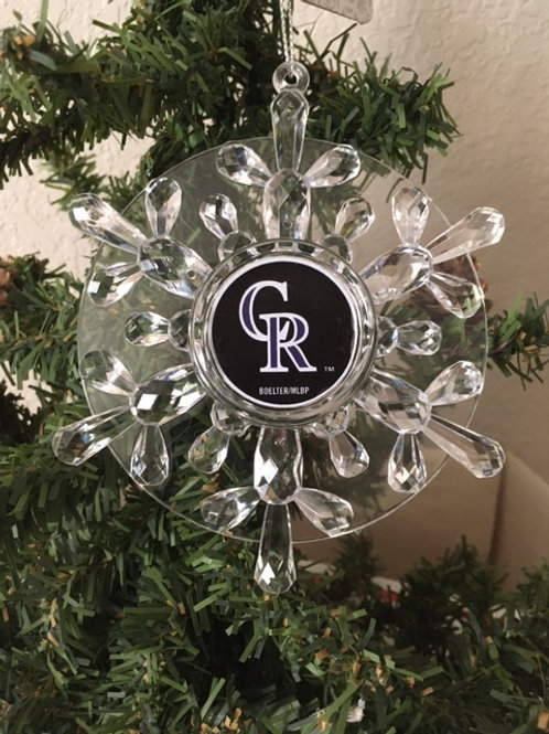 Rockies Acylic SnowflakeWith Disk - Cut Crystal Design Ornament