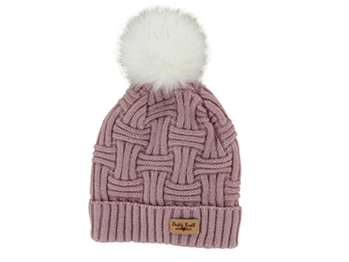 Pink Lined Knit Hat with Pom