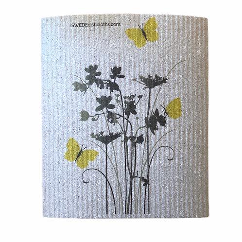 Meadow Flowers On Grey Backing .......... Swedish Dishcloth