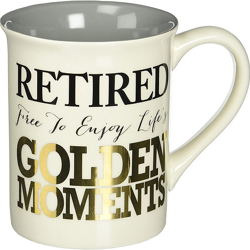 "16oz ..... Our Name is Mud ""Golden Retirement"" Stoneware Mug"