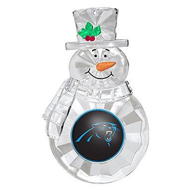 Panthers Acylic Snowman - Cut Crystal Design Ornament