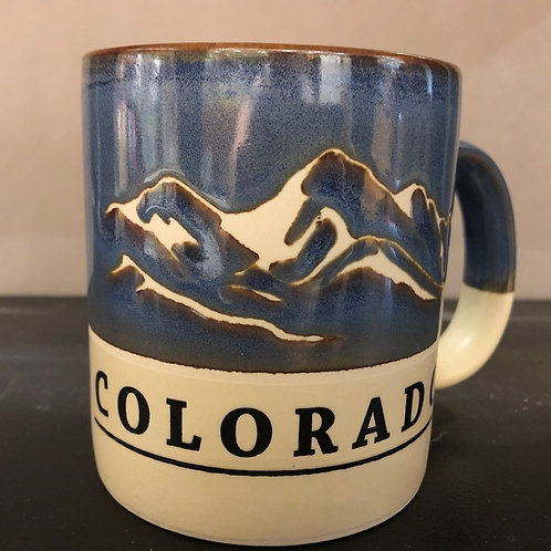 Colorado Blue/Tan Rustic Mug - with mountain scene