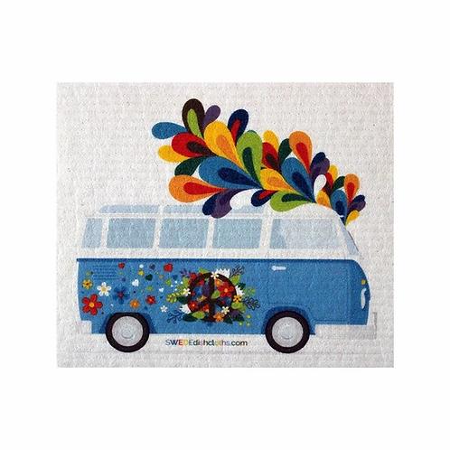Blue VW Flower Bus .......... Swedish Dishcloth