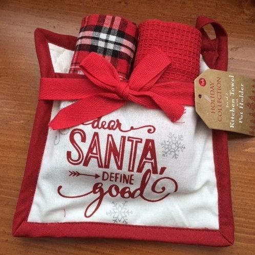 Dear Santa, Define Good ..... 2 Towels & Pot Holder Set
