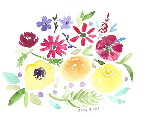 Printed Watercolor Art with Envelope