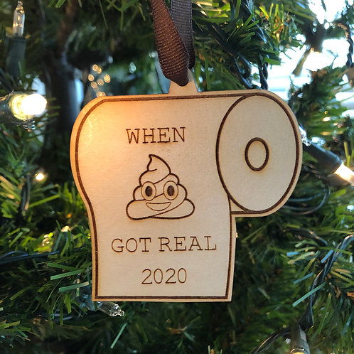 Dated 2020 Toilet Paper Wooden Ornament