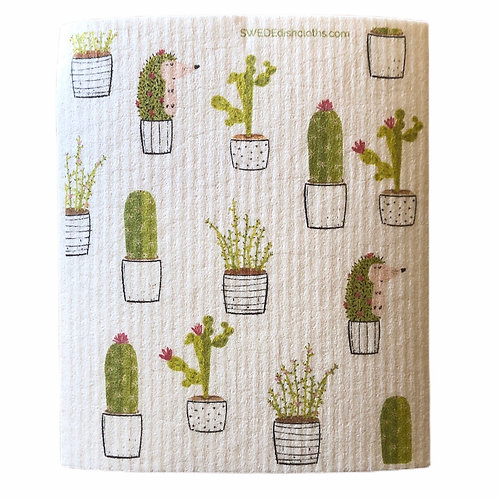Potted Cactus & Hedgehog .......... Swedish Dishcloth