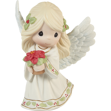 May Your Christmas Blossom With Peace And Happiness Annual Angel Figurine