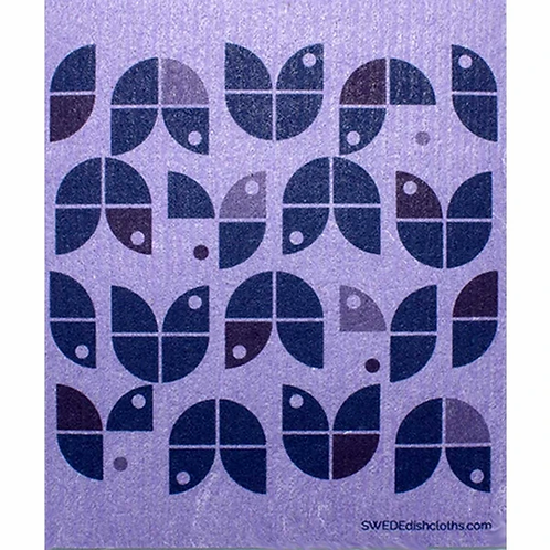 Geometric Purple Flowers ....... Swedish Dishcloth