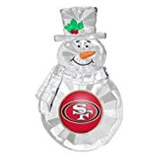 49ers Acylic Snowman - Cut Crystal Design Ornament