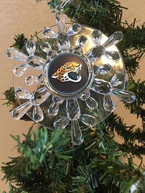 Jaguars Acylic Snowflake With Disk - Cut Crystal Design Ornament