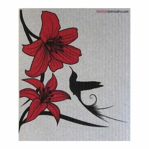 Red Lily & Black Hummingbird .......... Swedish Dishcloth