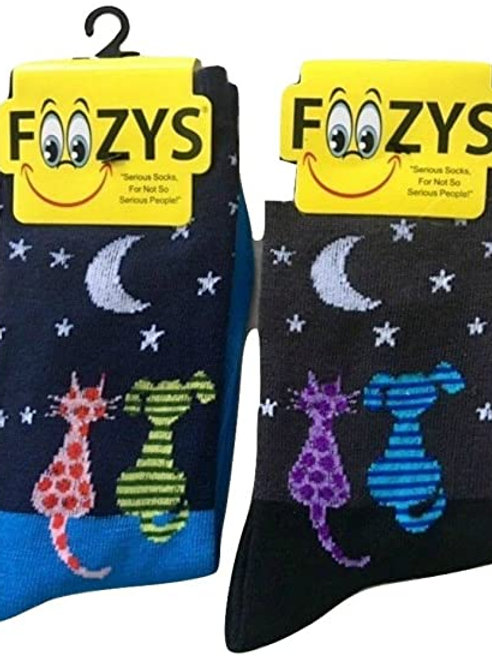 Foozys Womens Cat and Dog Socks ..... 2 pr (1 pair of each color)