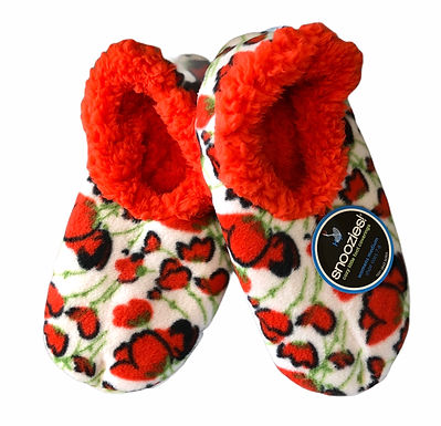 Snoozies Size Medium - Red Poppies     170-022W
