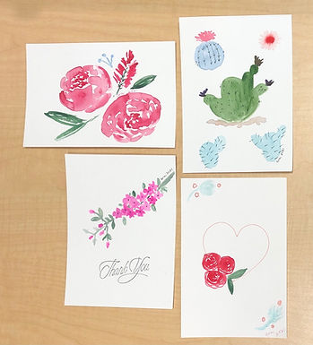Set of 4 Watercolor Art with Envelope