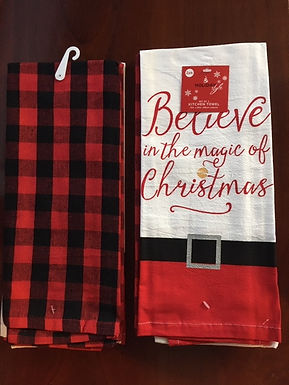 Set of 2 Bistro Towel.....Believe In The Magic  and a Red & Black Ck