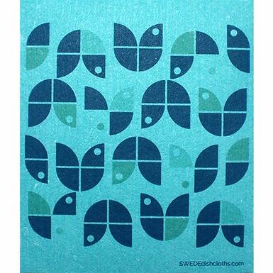 Geometric Blue Flowers ....... Swedish Dishcloth