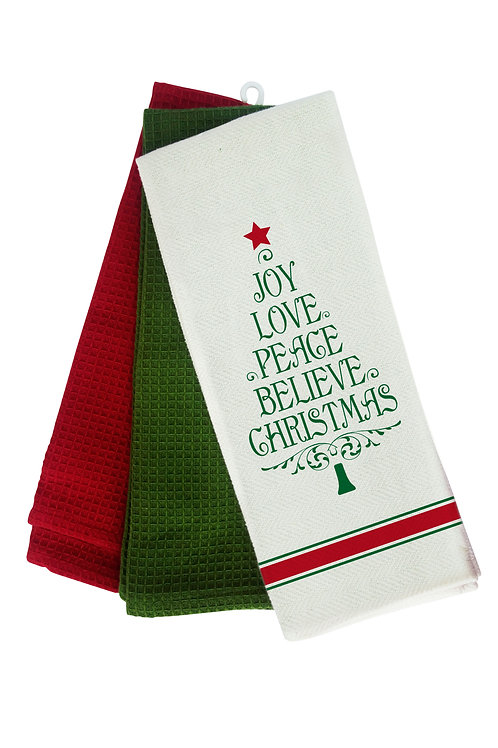 Set of 3 Bistro Towel.....Joy Love Peace Believe Christmas