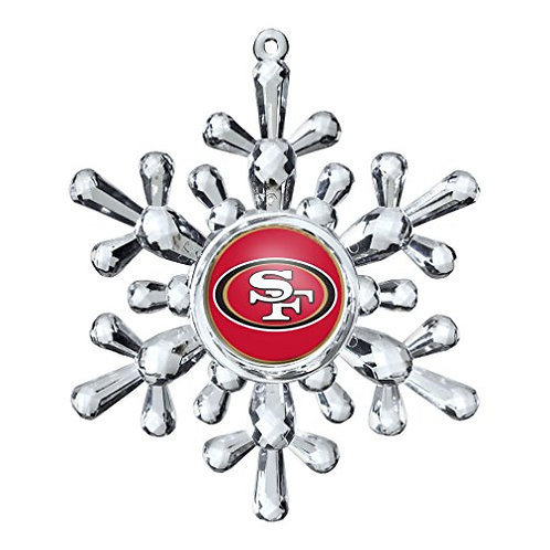 49ers Acylic Snowflake - Cut Crystal Design Ornament