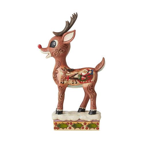 Rudolph with Sleigh Scene