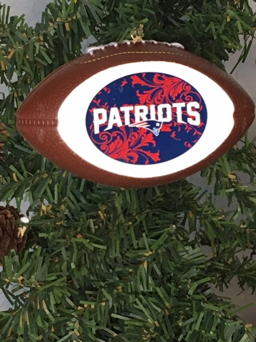 Patriots Replica Football with Flat Logo Ornament