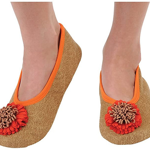 Snoozies Size Womens Medium - Flower Toe Butterscotch Tan     DS-009T