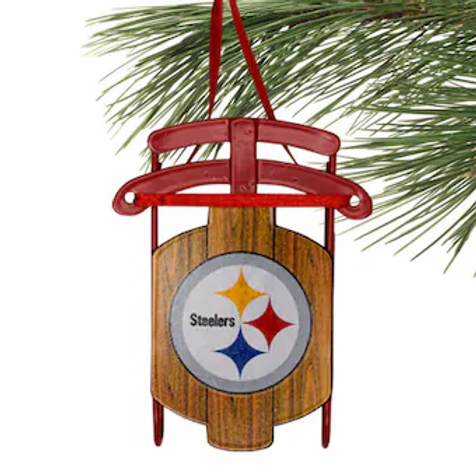 Steelers Metal Sled Ornament