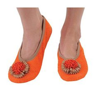Snoozies Size Womens Large - Flower Toe Mandrian Orange     DS-013O