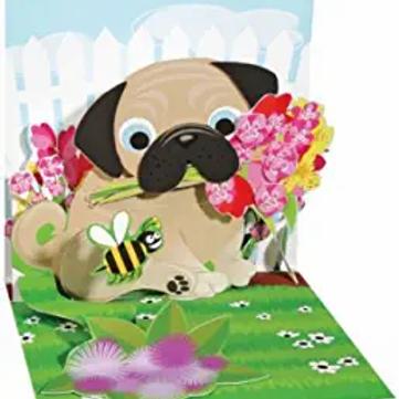 Pug Bouquet ..... Mini Pop-Up 3D Card