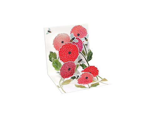 DAHLIAS AND BEES  ..... Mini Pop-Up 3D Card