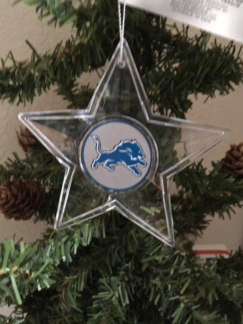 Lions Acylic Star - Cut Crystal Design Ornament