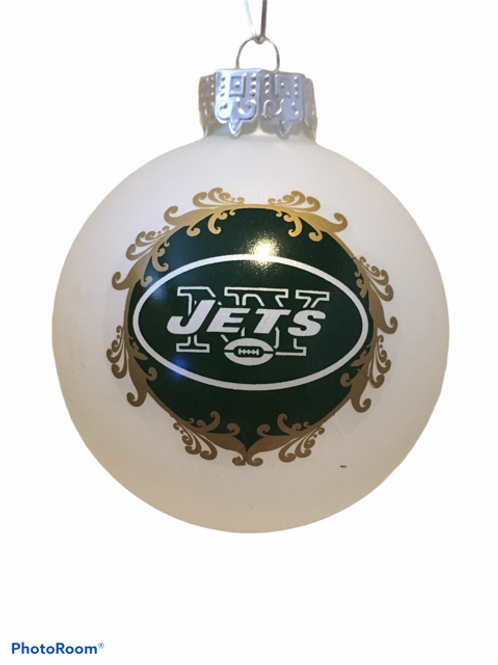 Jets Large Glass Ball Ornament