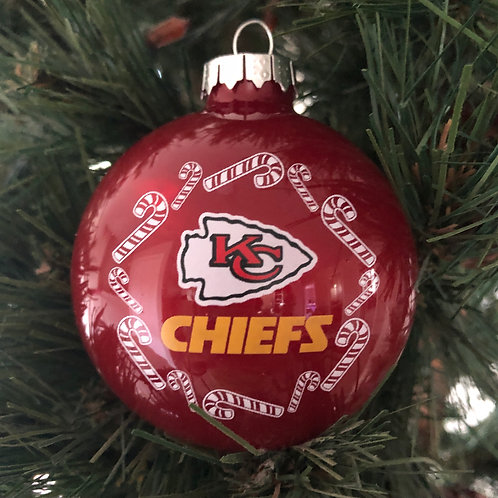 Chiefs Candy Cane Ball Ornament