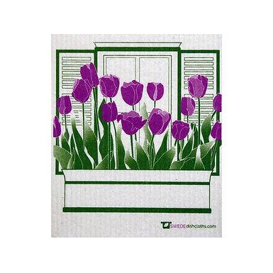 Purple Tulips Swedish Dishcloth