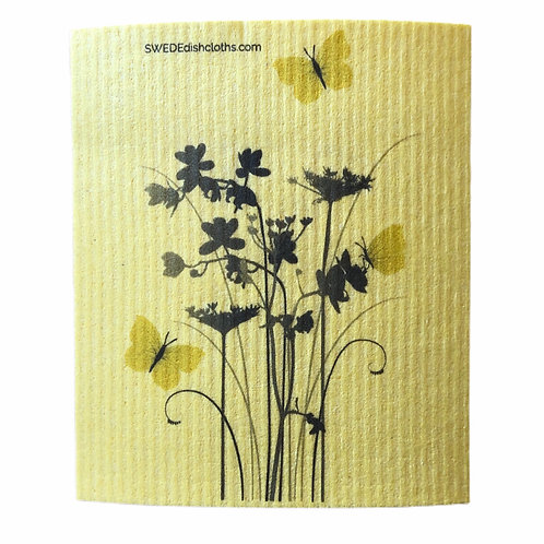 Meadow Flowers On Yellow Backing .......... Swedish Dishcloth